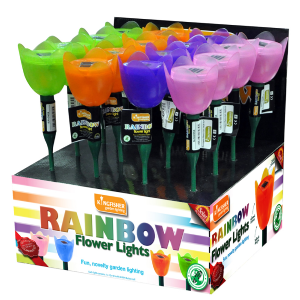 Solar Rainbow Flower Lights - Garden Lighting - Set of 4